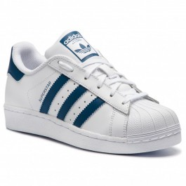 ADIDAS SUPERSTAR J WHITE/NAVY